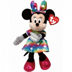 Pelúcia Bean Bag 20cm Sparkle Minnie Rainbow Disney