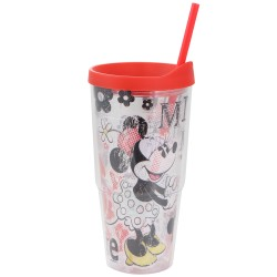 Copo Tumbler com Tampa 650ml Minnie Mouse Vintage Disney