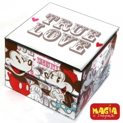 Porta Joias com Gaveta Espelhado Mickey e Minnie True Love
