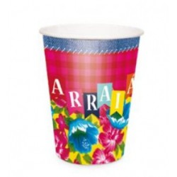 Copo Papel Arraial Junino 240ml UV C/ 8 unidades
