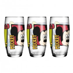 Kit 3 Copos de Vidro Caldereta Oca Friends Disney 430mL Mickey, Pateta e Donald