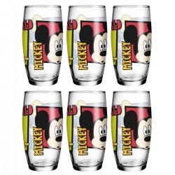 Kit 6 Copos de Vidro Caldereta Oca Friends Disney 430mL Mickey, Pateta e Donald