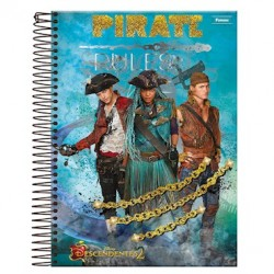 Caderno Universitário Descendentes Disney Pirate Rules 1 Matéria 96 folhas