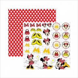 Papel para Scrapbook e Scrapfesta Minnie Mouse 2 Recortes