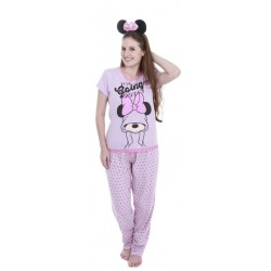 Pijama Adulto Calça e Manga Curta Minnie Going Dotty