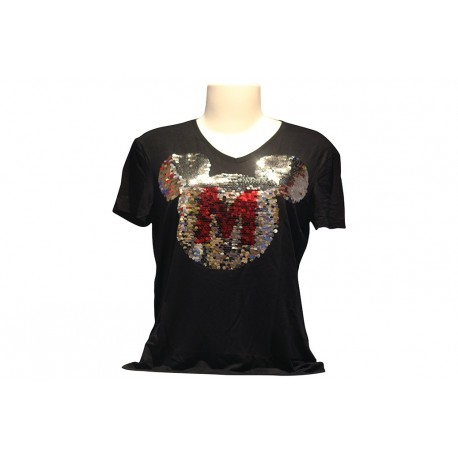 Blusa Manga Curta Lantejoulas 2 Tone M Mickey - 90th Years Limited Edition