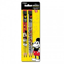 Lápis com Borracha Mickey Preto HB nº2 - Kit com 4 unidades - 90th Years Limited Edition
