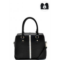 Bolsa Satchel Mickey Silver Band Preto