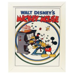Quadro Moldura Branca Piano Mickey e Minnie Disney