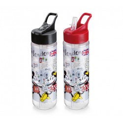 Garrafa Tritan 700mL Fliptop London Mickey e Minnie Disney