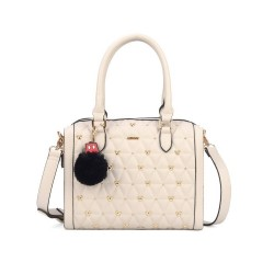 Bolsa Baú Satchel Mickey Tacks - Nude