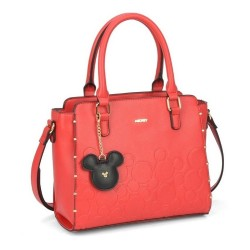 Bolsa Satchel Mickey Low Relief Vermelha
