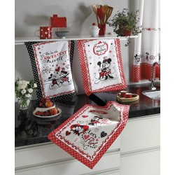 Kit de Pano de Copa Mickey e Minnie In Love C/ 3 PCS 45cm X 65cm